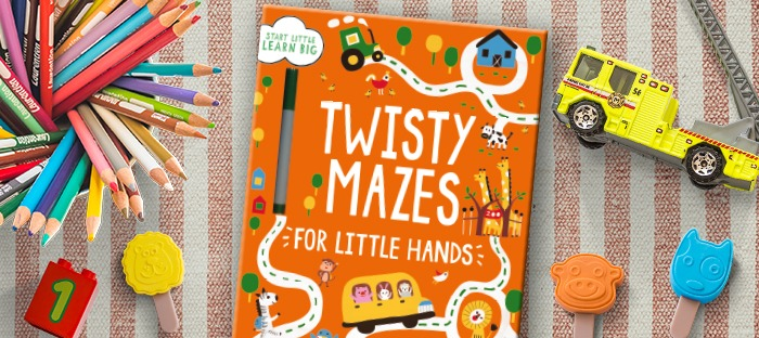 Twisty Mazes coloring book and toys