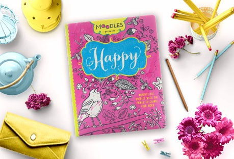 Happy coloring book with desk items